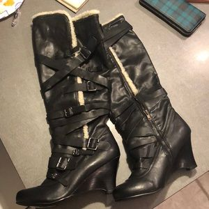 Stall black leather boots with faux trim